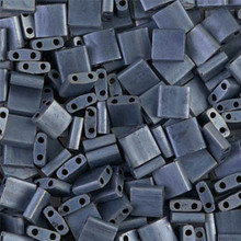 Miyuki Tila Beads, 5x5x1.9mm, 2-parallel 0.8mm holes, SKU 501000.TL-2001, matte gunmetal, 9.5 gram tube, apprx  104 beads, (1 tube)