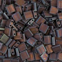 Miyuki Tila Beads, 5x5x1.9mm, 2-parallel 0.8mm holes, SKU 501000.TL-2005, matte metallic dark raspberry iris, 9.5 gram tube, apprx  104 beads, (1 tube)