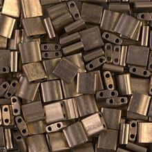 Miyuki Tila Beads, 5x5x1.9mm, 2-parallel 0.8mm holes, SKU 501000.TL-2006, matte metallic dark bronze, 9.5 gram tube, apprx  104 beads, (1 tube)