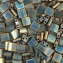 Miyuki Tila Beads, 5x5x1.9mm, 2-parallel 0.8mm holes, SKU 501000.TL-2008, matte metallic patina iris, 9.5 gram tube, apprx  104 beads, (1 tube)