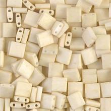Miyuki Tila Beads, 5x5x1.9mm, 2-parallel 0.8mm holes, SKU 501000.TL-2021, matte opaque cream, 9.5 gram tube, apprx  104 beads, (1 tube)