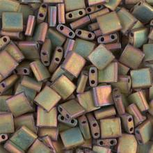 Miyuki Tila Beads, 5x5x1.9mm, 2-parallel 0.8mm holes, SKU 501000.TL-2035, metallic khaki iris, 9.5 gram tube, apprx  104 beads, (1 tube)