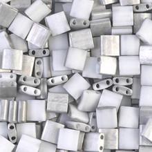 Miyuki Tila Beads, 5x5x1.9mm, 2-parallel 0.8mm holes, SKU 501000.TL-4558, labradore matte, 9.5 gram tube, apprx  104 beads, (1 tube)