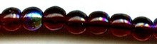 4mm Round Druk, Czech Glass, garnet ab, (100 beads)