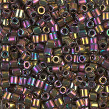 Miyuki Delica Beads, Large, size 8/0, SKU 195008.DBL8-0023, Metallic Light Bronze Iris, (1 10gr tube; apprx 330 beads)
