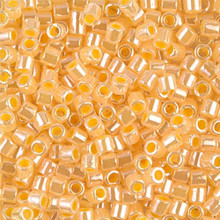 Miyuki Delica Beads, Large, size 8/0, SKU 195008.DBL8-0233, Lined Crystal/Yellow Luster, (1 10gr tube; apprx 330 beads)