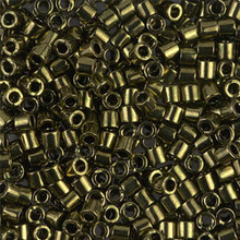 Miyuki Delica Beads, Large, size 8/0, SKU 195008.DBL8-0011, Metallic Olive, (1 10gr tube; apprx 330 beads)