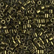 Miyuki Delica Beads, Large, size 8/0, SKU 195008.DBL8-0011, Metallic Olive, (1 10gr tube; apprx 330 beads)
