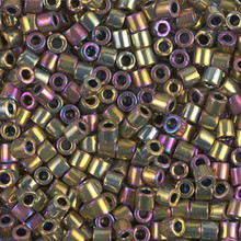 Miyuki Delica Beads, Large, size 8/0, SKU 195008.DBL8-0029, Metallic Purple/Gold Iris, (1 10gr tube; apprx 330 beads)