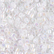 Miyuki Delica Beads, Large, size 8/0, SKU 195008.DBL8-0222, White Opal AB, (1 10gr tube; apprx 330 beads)