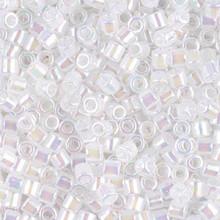Miyuki Delica Beads, Large, size 8/0, SKU 195008.DBL8-0222, White Opal AB, (1 10gr tube; apprx 330 beads)
