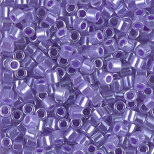 Miyuki Delica Beads, Large, size 8/0, SKU 195008.DBL8-0249, Lined Crystal/Purple, (1 10gr tube; apprx 330 beads)