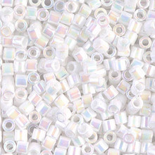 Miyuki Delica Beads, Large, size 8/0, SKU 195008.DBL8-0202, White Pearl AB, (1 10gr tube; apprx 330 beads)