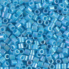 Miyuki Delica Beads, Large, size 8/0, SKU 195008.DBL8-0164, opaque light blue ab, (1 10gr tube; apprx 330 beads)