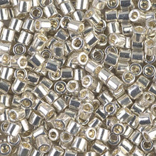 Miyuki Delica Beads, Large, size 8/0, SKU 195008.DBL8-0035, Galvanized Silver, (1 10gr tube; apprx 330 beads)