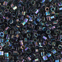 Miyuki Delica Beads, Large, size 8/0, SKU 195008.DBL8-0005 cut, medium blue iris cut, (1 10gr tube; apprx 330 beads)