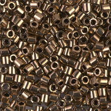 Miyuki Delica Beads, Large, size 8/0, SKU 195008.DBL8-0022, Metallic Bronze, (1 10gr tube; apprx 330 beads)