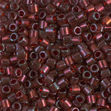 Miyuki Delica Beads, Large, size 8/0, SKU 195008.DBL8-0105, gold luster transp dark red, (1 10gr tube; apprx 330 beads)