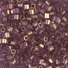 Miyuki Delica Beads, Large, size 8/0, SKU 195008.DBL8-0108cut, gold luster amethyst cut, (1 10gr tube; apprx 330 beads)