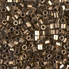 Miyuki Delica Beads, Large, size 8/0, SKU 195008.DBL8-0022cut, metallic bronze cut, (1 10gr tube; apprx 330 beads)