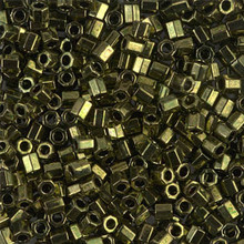 Miyuki Delica Beads, Large, size 8/0, SKU 195008.DBL8-0011cut, metallic olive cut, (1 10gr tube; apprx 330 beads)