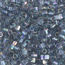 Miyuki Delica Beads, Large, size 8/0, SKU 195008.DBL8-0111cut, transparent grey luster ab cut (1 10gr tube; apprx 330 beads)