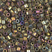 Miyuki Delica Beads, Large, size 8/0, SKU 195008.DBL8-0029cut, metallic purple/gold iris cut, (1 10gr tube; apprx 330 beads)