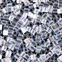 Miyuki Delica Beads, Large, size 8/0, SKU 195008.DBL8-0051cut, crystal ab cut, (1 10gr tube; apprx 330 beads)