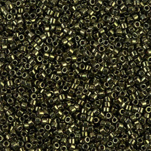 Delica Beads (Miyuki), size 11/0 (same as 12/0), 011, olive metallic, (10gram tube, apprx 1900 beads)