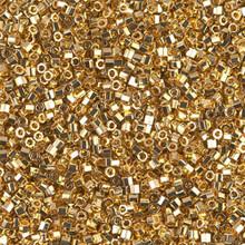 Delica Beads (Miyuki), size 11/0 (same as 12/0), 031cut, bright gold 24KT cut, (5gram tube, apprx 950 beads)