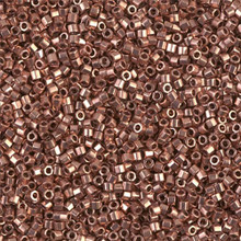 Delica Beads (Miyuki), size 11/0 (same as 12/0), SKU 195006.DB11-0040cut, bright copper plated, (10gram tube, apprx 1900 beads)
