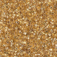 Delica Beads (Miyuki), size 11/0 (same as 12/0), SKU 195006.DB11-0033cut, 24KT lined crystal cut, (5gram tube, apprx 950 beads)