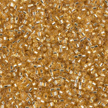 Delica Beads (Miyuki), size 11/0 (same as 12/0), SKU 195006.DB11-0042cut, silver lined gold, (10gram tube, apprx 1900 beads)