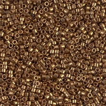 Delica Beads (Miyuki), size 11/0 (same as 12/0), 022L, metallic light bronze, (10gram tube, apprx 1900 beads)