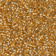 Delica Beads (Miyuki), size 11/0 (same as 12/0), SKU 195006.DB11-0042, gold silver lined, (10gram tube, apprx 1900 beads)
