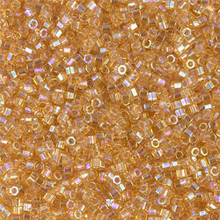 Delica Beads (Miyuki), size 11/0 (same as 12/0), SKU 195006.DB11-0100cut, transparent light amber, (10gram tube, apprx 1900 beads)