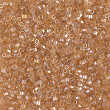 Delica Beads (Miyuki), size 11/0 (same as 12/0), SKU 195006.DB11-0101cut, light topaz luster, (10gram tube, apprx 1900 beads)