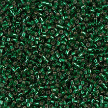 Delica Beads (Miyuki), size 11/0 (same as 12/0), SKU 195006.DB11-0148, green silver lined, (10gram tube, apprx 1900 beads)