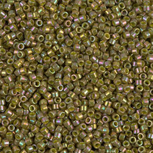 Delica Beads (Miyuki), size 11/0 (same as 12/0), SKU 195006.DB11-0133, olive ab, (10gram tube, apprx 1900 beads)