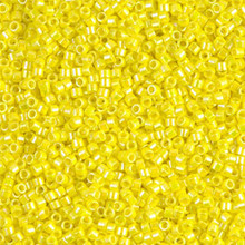Delica Beads (Miyuki), size 11/0 (same as 12/0), SKU 195006.DB11-0160, opaque yellow  ab, (10gram tube, apprx 1900 beads)