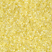 Delica Beads (Miyuki), size 11/0 (same as 12/0), SKU 195006.DB11-0232, lined crystal/ pale yellow luster, (10gram tube, apprx 1900 beads)