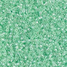 Delica Beads (Miyuki), size 11/0 (same as 12/0), SKU 195006.DB11-0237, lined crystal/light green, (10gram tube, apprx 1900 beads)
