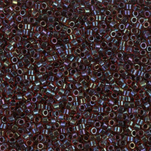 Delica Beads (Miyuki), size 11/0 (same as 12/0), SKU 195006.DB11-0297, lined garnet/dark grey ab, (10gram tube, apprx 1900 beads)