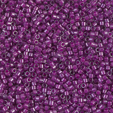 Delica Beads (Miyuki), size 11/0 (same as 12/0), SKU 195006.DB11-0281,lined pale blue/magenta luster, (10gram tube, apprx 1900 beads)