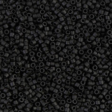 Delica Beads (Miyuki), size 11/0 (same as 12/0), SKU 195006.DB11-0310, black opaque matte, (10gram tube, apprx 1900 beads)