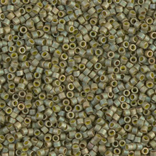 Delica Beads (Miyuki), size 11/0 (same as 12/0), SKU 195006.DB11-0372, light yellow-green matte metallic, (10gram tube, apprx 1900 beads)