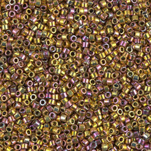 Delica Beads (Miyuki), size 11/0 (same as 12/0), SKU 195006.DB11-0506, dark red gold ab,  (5gram tube, apprx 950 beads)