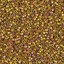 Delica Beads (Miyuki), size 11/0 (same as 12/0), SKU 195006.DB11-0501, gold iris 24KT, (5gram tube, apprx 950 beads)