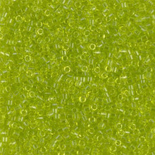 Delica Beads (Miyuki), size 11/0 (same as 12/0), SKU 195006.DB11-0712, transparent chartreuse, (10gram tube, apprx 1900 beads)