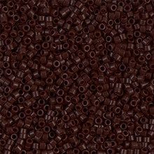 Delica Beads (Miyuki), size 11/0 (same as 12/0), SKU 195006.DB11-0734, opaque chocolate brown, (10gram tube, apprx 1900 beads)